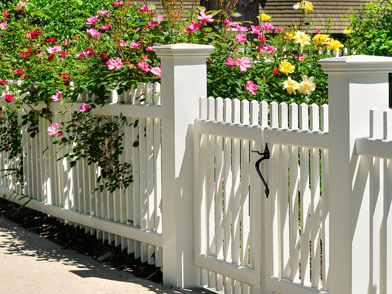 white picket fence in front of a beautiful flowerbed