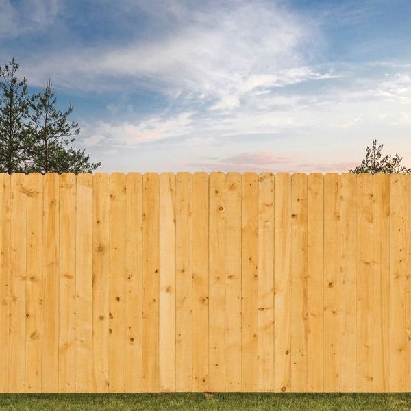 residential backyard with privacy fence